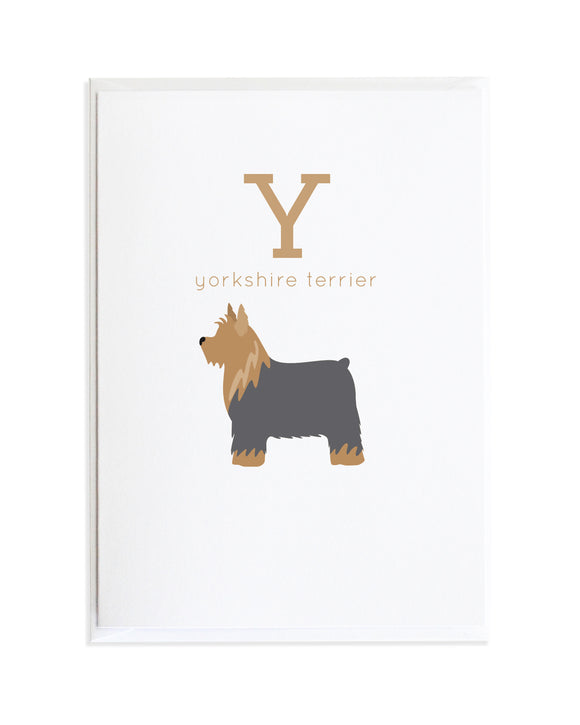 YORKSHIRE TERRIER ALPHADOG ALPHABET CARD