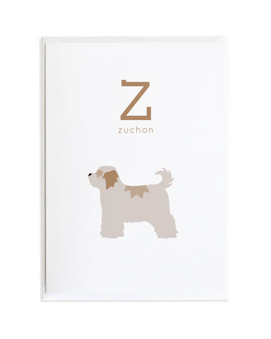 Alphadog Alphabet Series Zuchon by Anne Green Design Copyright 2015