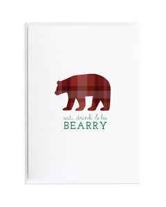 Bear Eat Drink and Be Merry Flannel Animal Christmas Card by Anne Green Design
