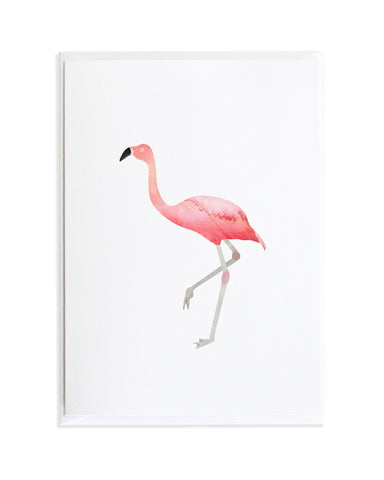 Watercolor Flamingo Bird Greeting Card by Anne Green Design