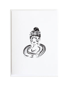 Bold Female Series Freida Kahlo Greeting Card by Anne Green Design