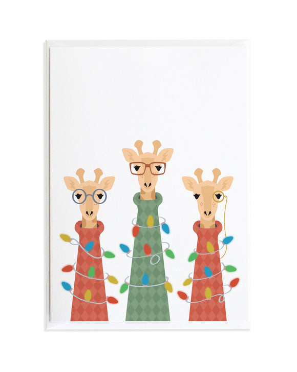 Giraffes in Ugly Sweaters Christmas Card by Anne Green Design