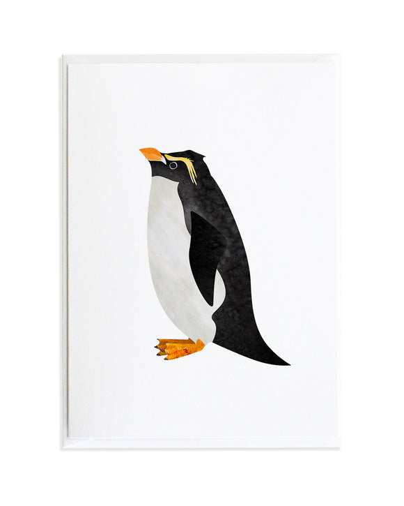 Watercolor Macaroni Penguin Bird Greeting Card by Anne Green Design