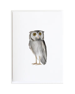 Watercolor Owl Bird Greeting Card by Anne Green Design