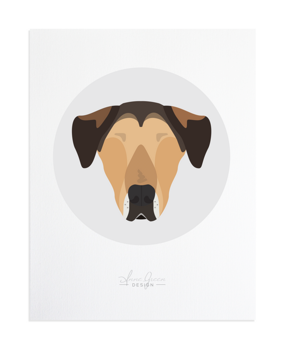 Hound Dog Custom Pet Portrait by Anne Green Design