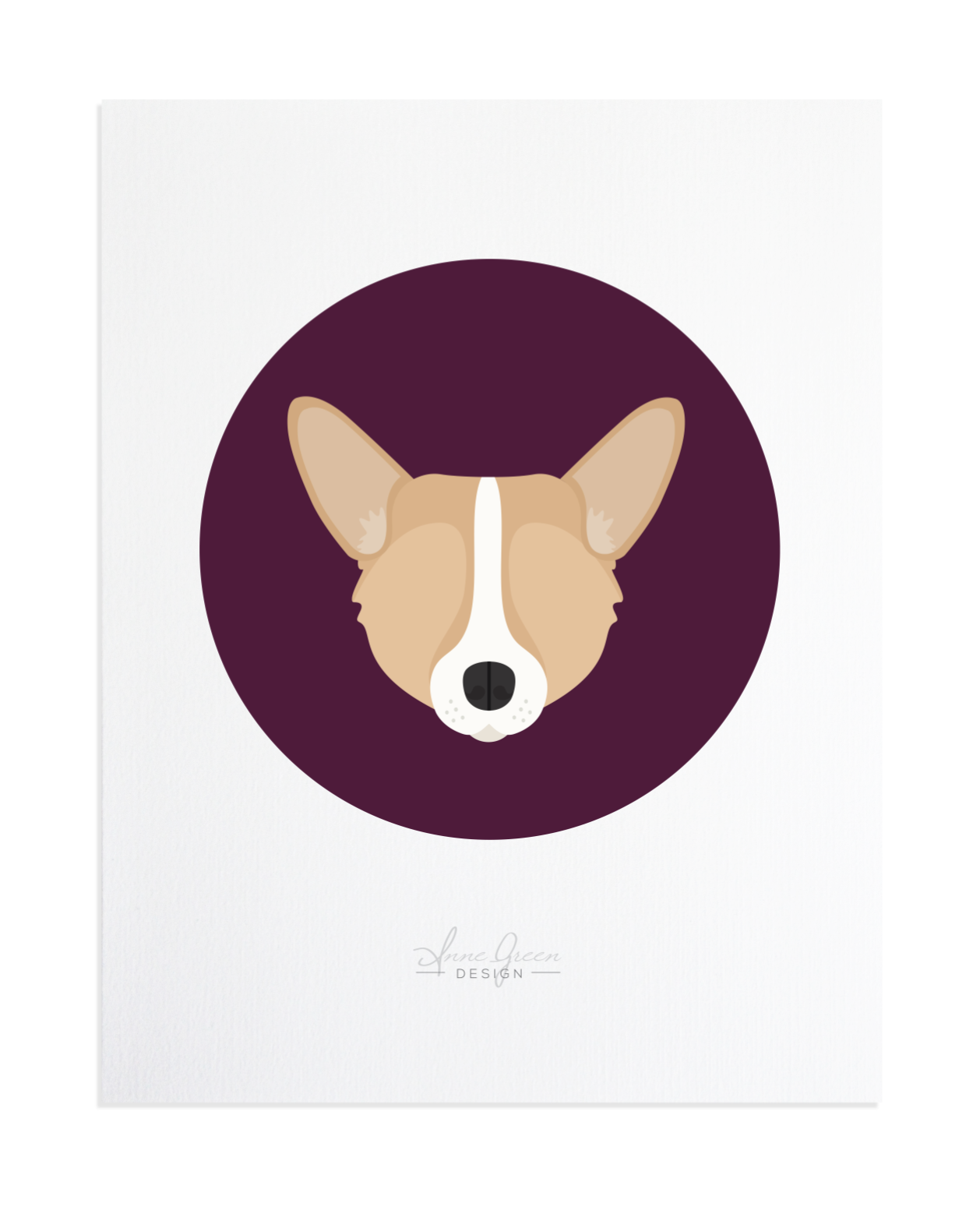 Corgi Custom Pet Portrait by Anne Green Design
