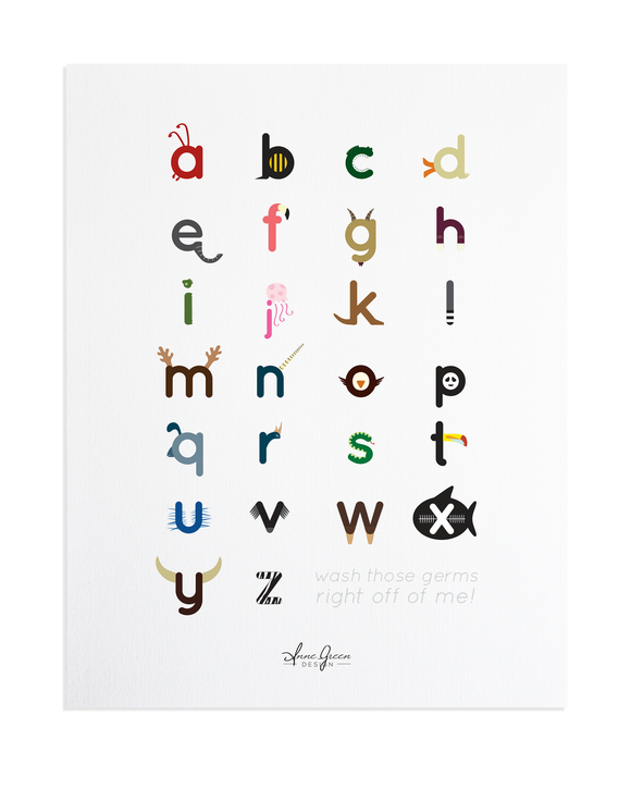 ABC Alphabet Kids Hand Washing Sign Print by Anne Green Design