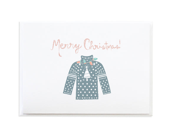 Blue Christmas Sweater Holiday Card