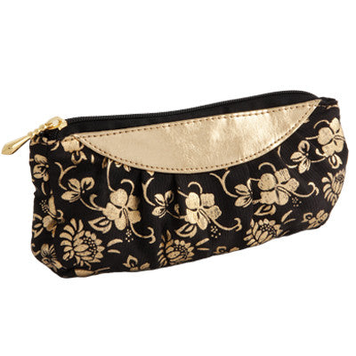 Silk Black & Gold Floral Cosmetics Purse