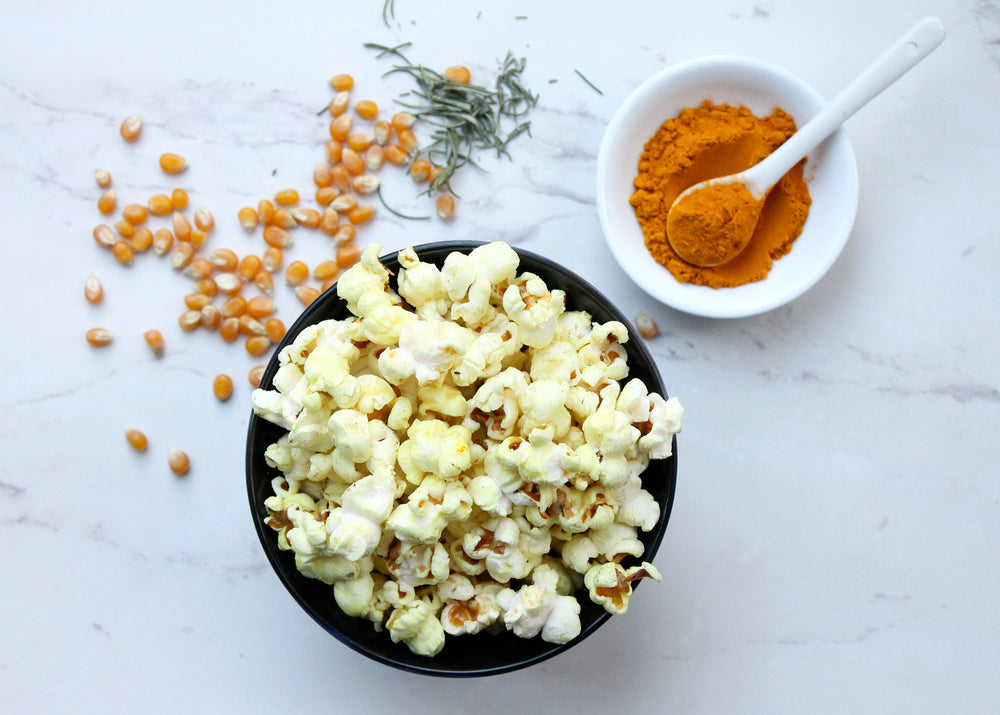 Golden Popcorn with 5 Ingredients including Turmeric!