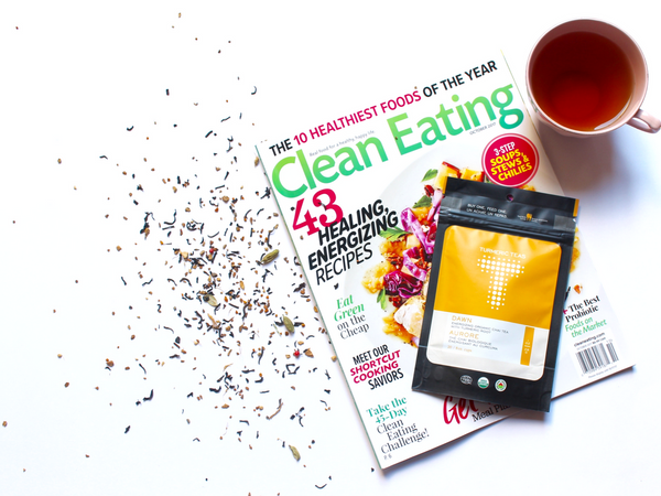 Turmeric Teas Dawn featured in Clean Eating Magazine list of Best Natural Teas