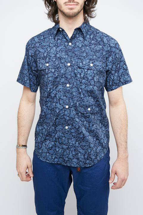 Battenwear Short Sleeve Camp Shirt - Navy Paisley - Totem Brand Co.
