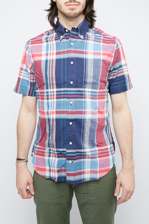 Gitman Vintage Short Sleeve Button Down Shirt - Big Navy Madras - Totem Brand Co.