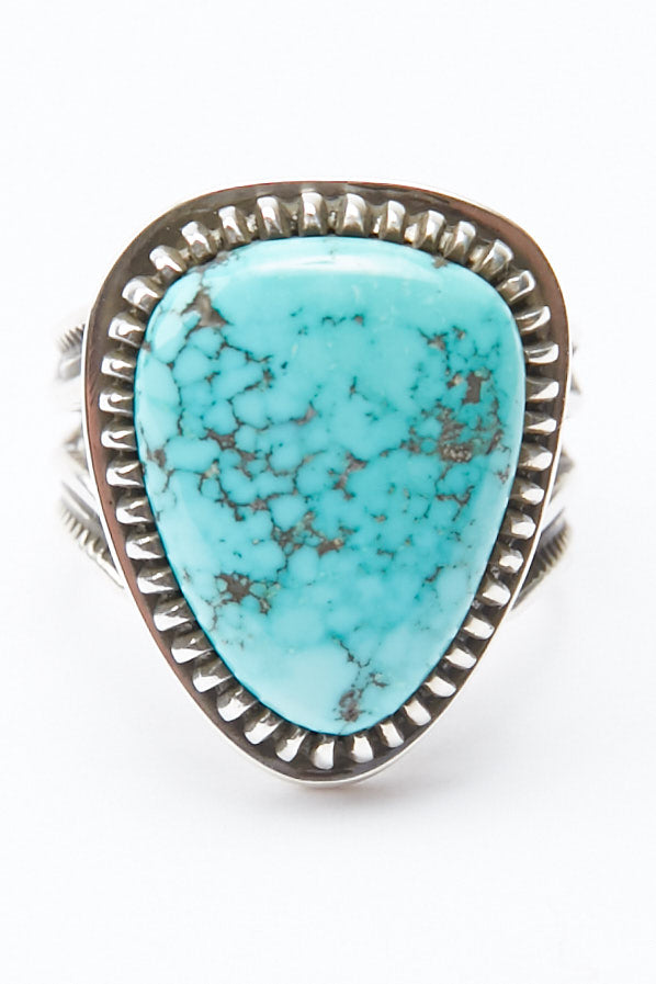 Sterling Silver Ring by Lyle Secatero - Turquoise Triangular Ring