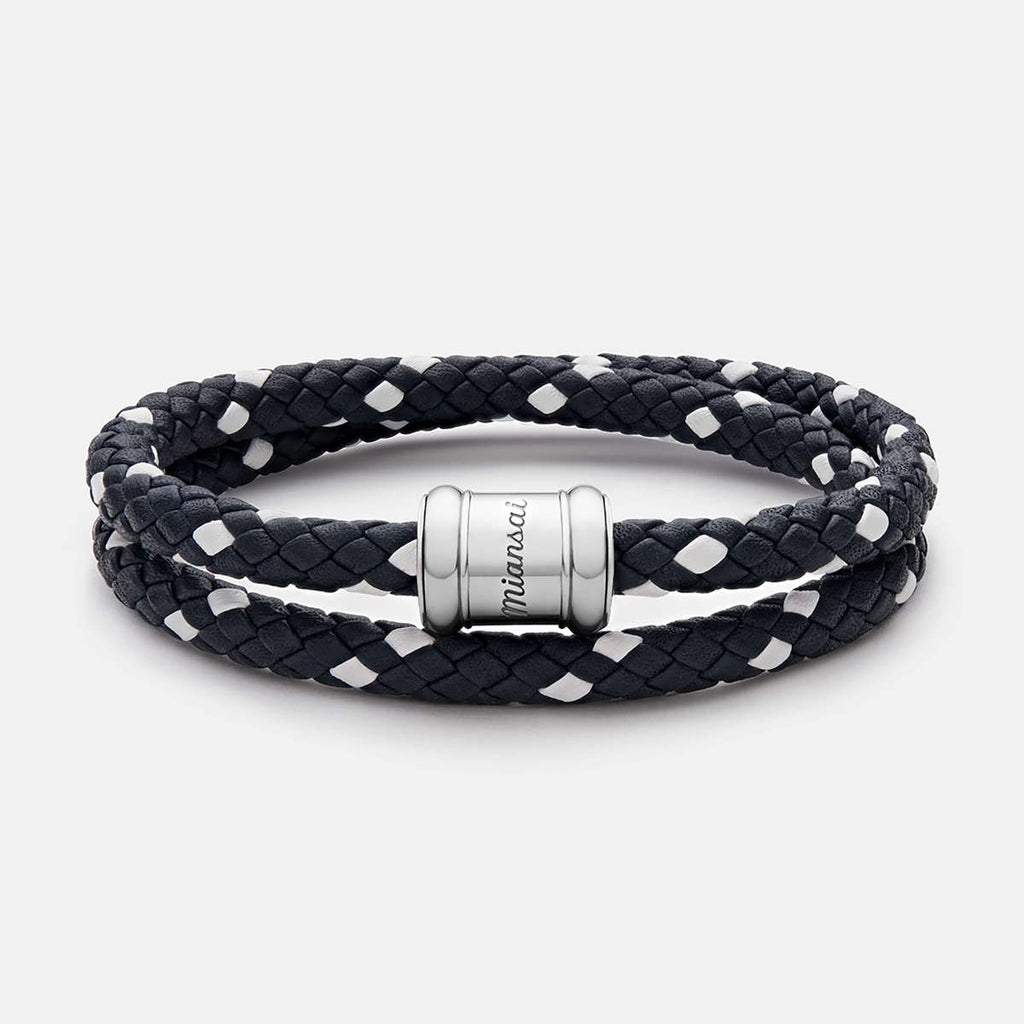 Miansai Two-Tone Leather Casing Bracelet, Silver - Totem Brand Co.