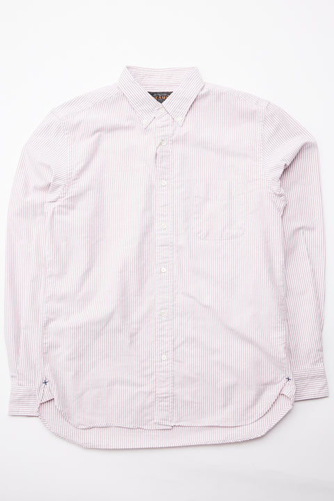 Beams Plus B.D. Oxford Candy Stripe - WINE