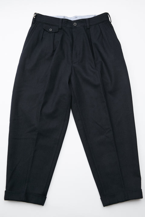 Beams+ 2Pleats Flannel Pant - Navy