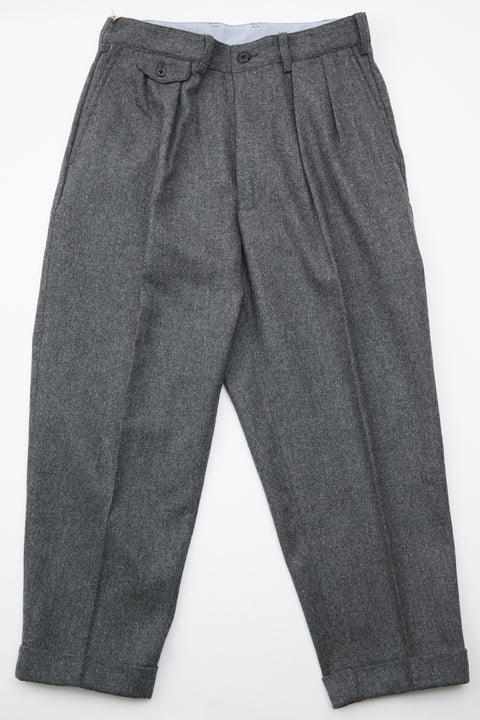 Beams+ 2Pleats Flannel Pant - Charcoal Grey