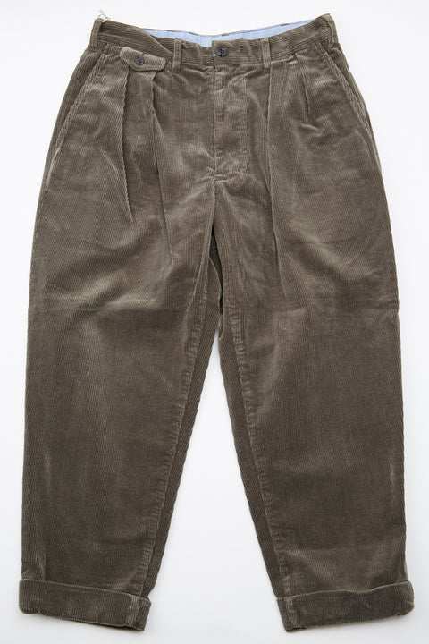 Beams+ 2Pleats Corduroy Pant - Dark Green