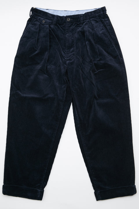 Beams+ 2Pleats Corduroy Pant - Navy
