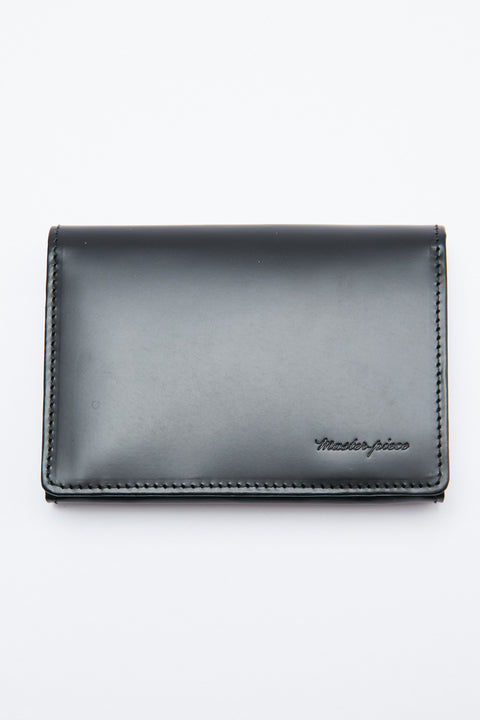Master-Piece Plain Version 2 Card Holder - Black Waxed Glass Steer Leather