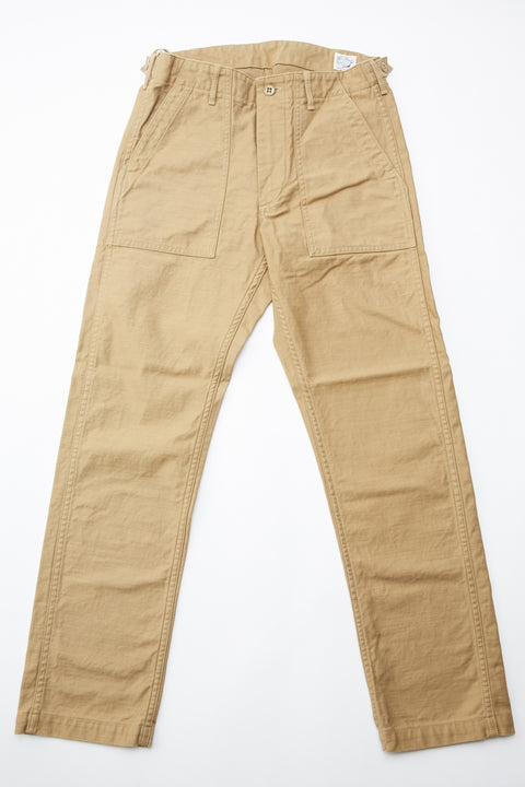Orslow Slim Fit Fatigue Pants - Khaki Reverse Cotton Sateen