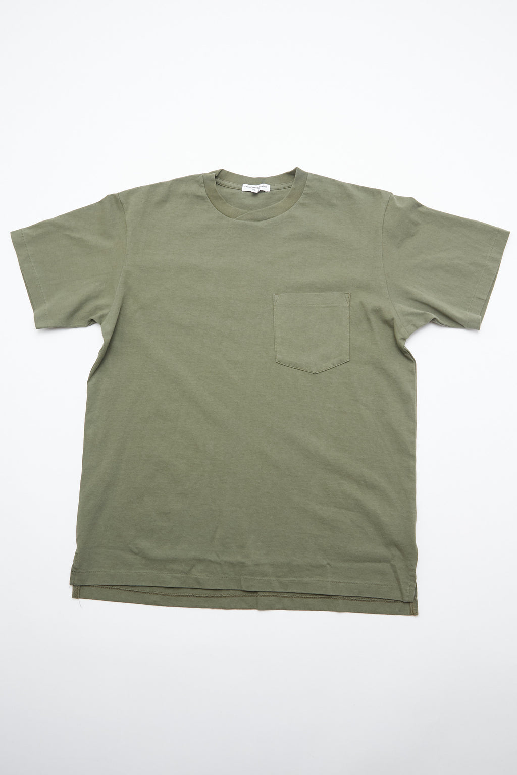 Engineered Garments Plain Cross Crew Neck T-Shirt - Olive