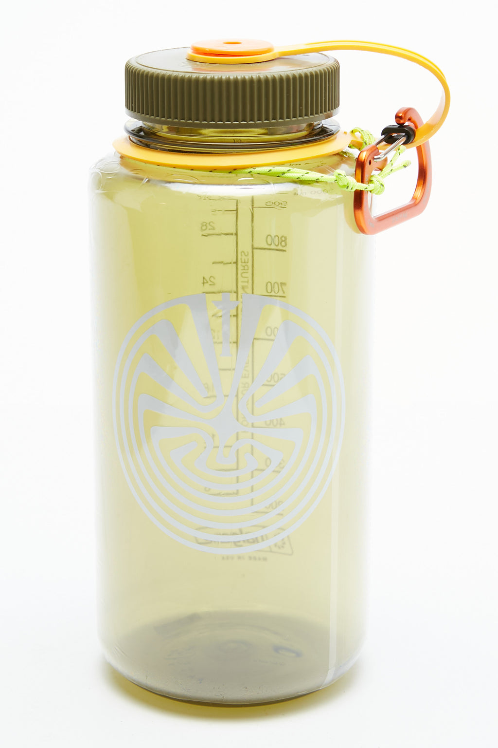 Totem Brand Co. x Nalgene x Nite-Ize Totem in the Maze 32oz Wide Mouth Water Bottle -  Olive with Earth-Sunflower-Pumpkin Cap