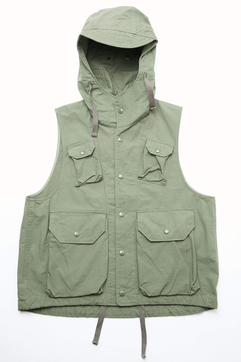 Engineered Garments Field Vest - Olive Cotton Ripstop