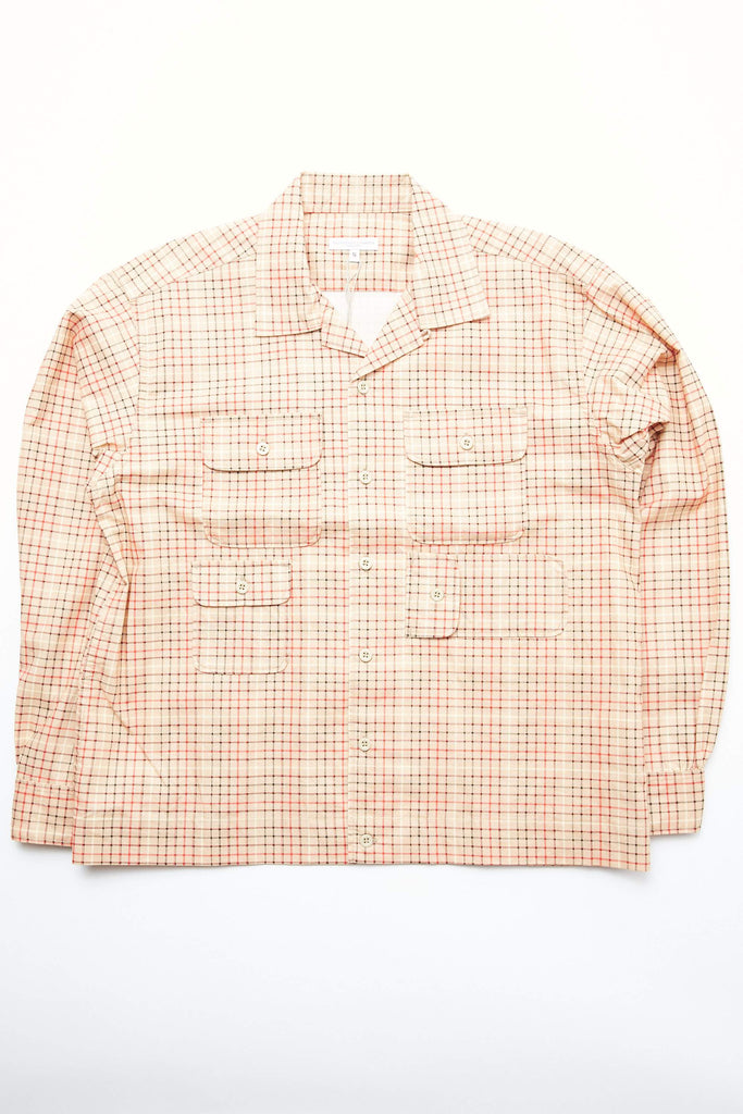 Engineered Garments Bowling Shirt - Beige Cotton Printed Tattersall