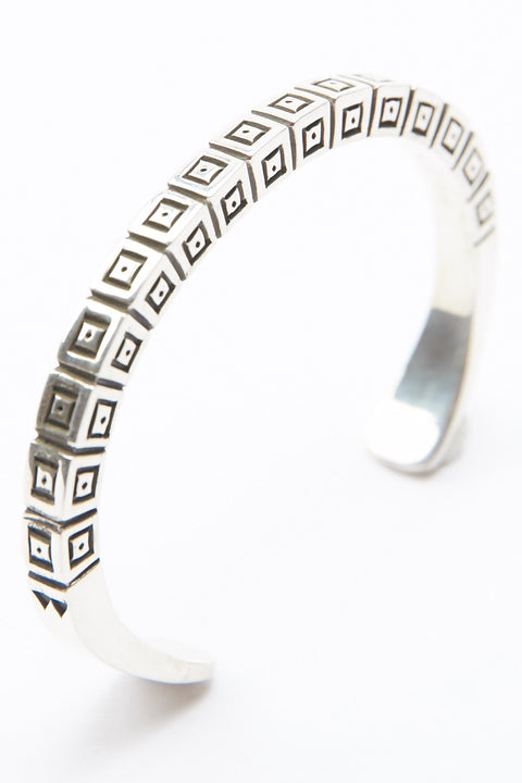 Sterling Silver Square Cuff by Lyle Secatero - Positive Energy Cuff