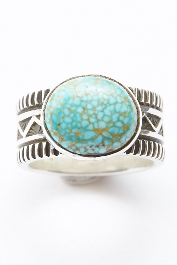 Sterling Silver Ring by Lyle Secatero - Turquoise Abundance | River Ring