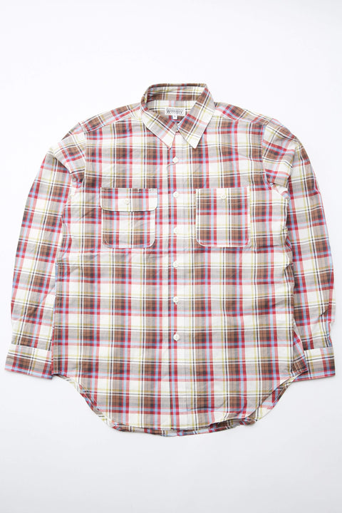 Engineered Garments Workaday Utility Shirt - Natural Brown Red Cotton Poplin Plaid
