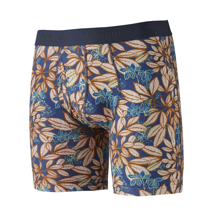 "Patagonia Men's Essential Boxer Briefs - 6"" - Hevea Leaves: Superior Blue"