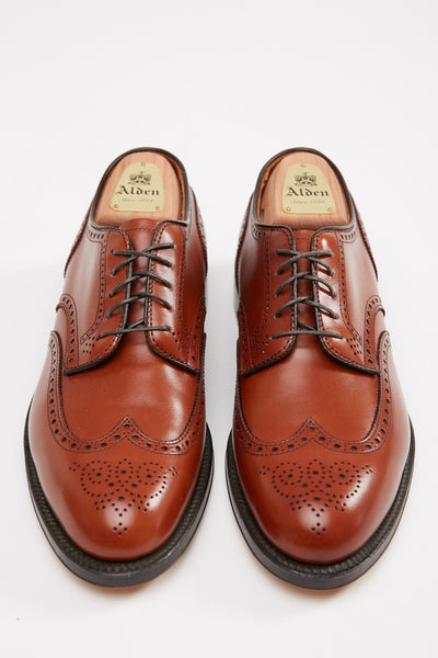 Alden Wing Tip Blucher Burnished Tan Calfskin #966