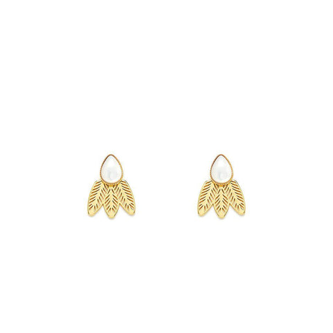 L'atelier Emma & Chloe - Doriane Gold Earrings - Lapis