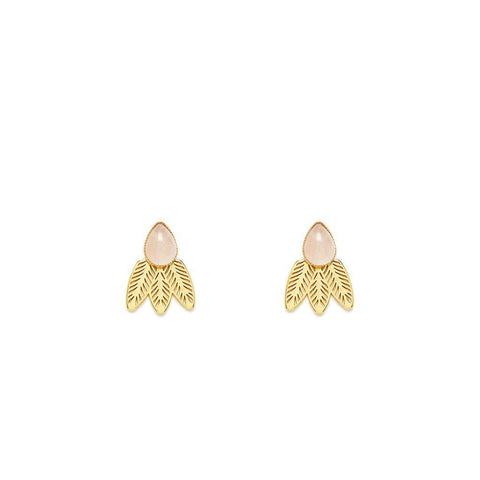 L'atelier Emma & Chloe - Doriane Gold Earrings - Rose Quartz