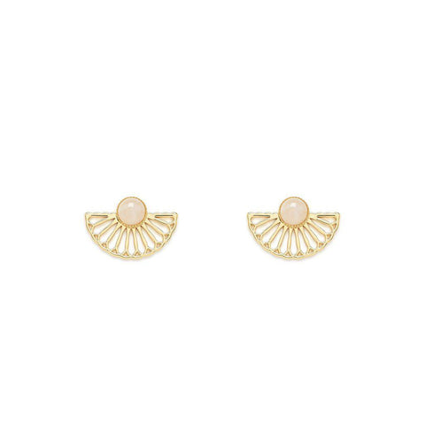 L'atelier Emma & Chloe - Manon Gold Earrings - Rose Quartz