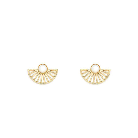 L'atelier Emma & Chloe - Manon Gold Earrings - Mother of Pearl