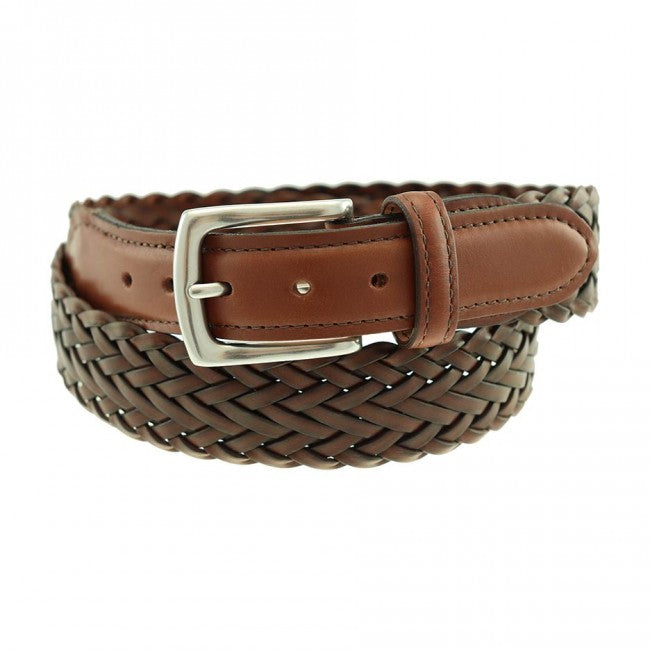 T.B. Phelps Maxwell Braided Leather Belt - Dark Tan