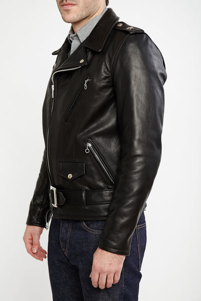 Schott NYC #519 Waxy Natural Black Cowhide 50's Perfecto Motorcycle Leather Jacket
