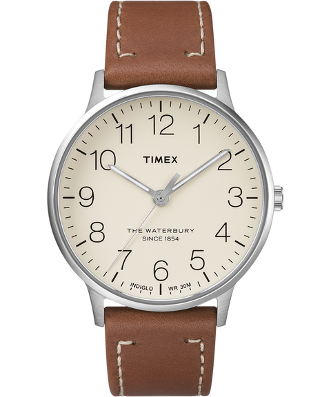Timex Waterbury Classic 40mm Leather Strap Watch - Stainless-Steel/Brown/Cream