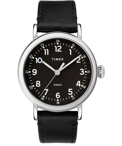 Timex® Standard 40mm Leather Strap Watch- Black
