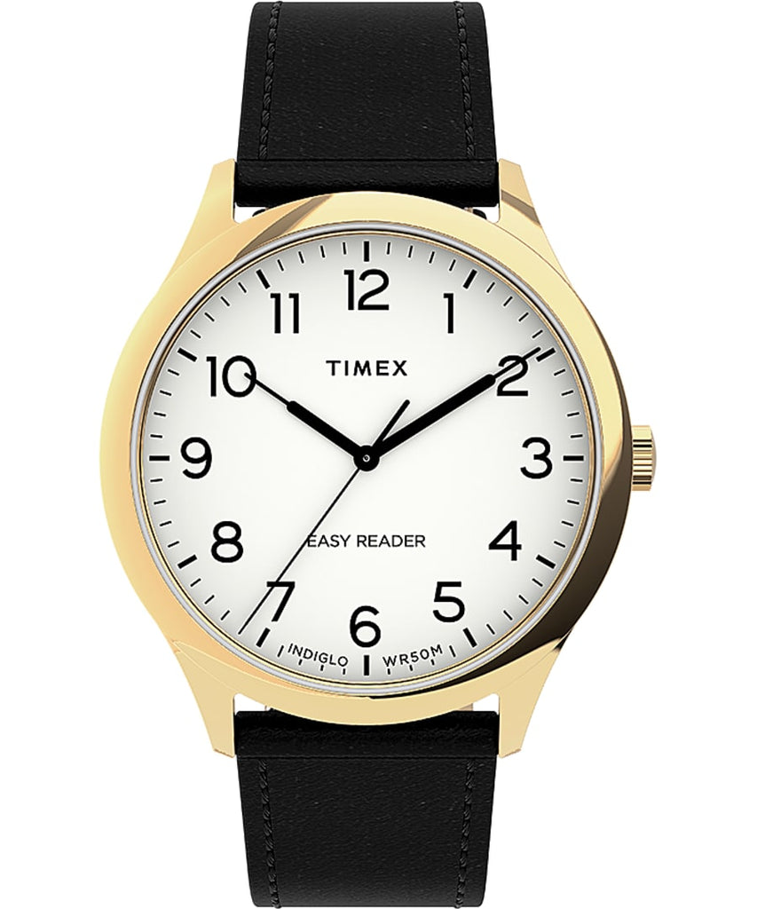 Timex® Easy Reader® Gen1 40mm Leather Strap Watch - Gold-Tone/Black/White