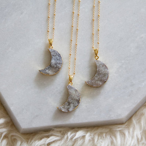 Mesa Blue - Moon Druzy Long Necklace (28 inches)