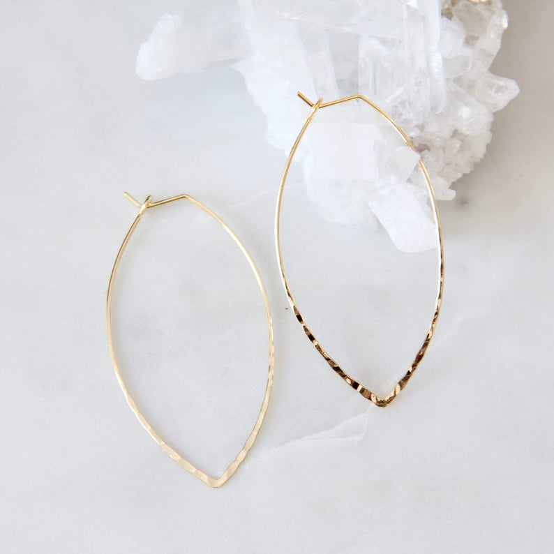 Mesa Blue - Hammered Oval Hoop Earrings