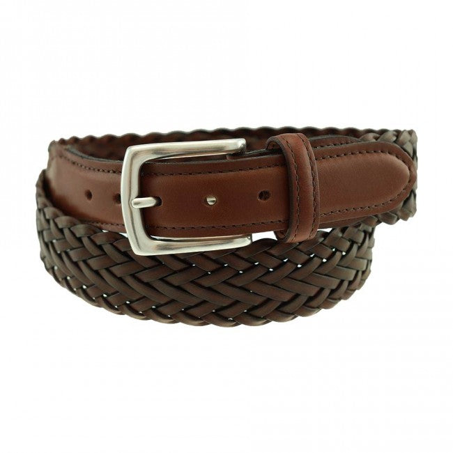 T.B. Phelps Maxwell Braided Leather Belt - Briar Brown