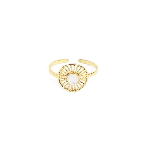 L'atelier Emma & Chloe - Myrtille Gold Ring - Mother of Pearl