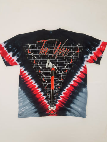 Pink Floyd - The Wall Hammers Red and Grey Tie Dye V Liquid Blue Shirt