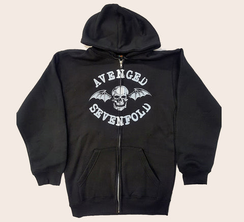 Avenged Sevenfold -  White Winged Skull Zip- Up Hoodie